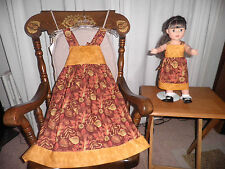Matching fall print Dresses for girl size 8 and American Girl Doll