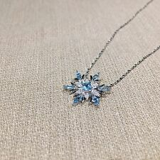 "Sterling Silver Blue Topaz Snowflake Necklace w/18"" Chain Elsa Frozen Christmas"