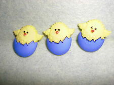 Chicken in Purple Egg Novelty Theme Buttons -Dress It Up - Sewing