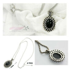 Crystal Vintage Black Jewel Resin Bead Necklace Dangle Charm Pendant Long Chain