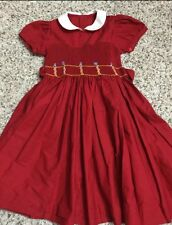 Beautiful Full Top Hand Smocked Red Dress Girls Size 4