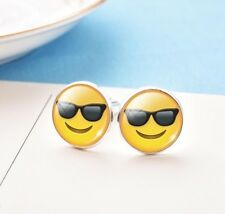 Qualità Argento Placcato Emoji Gemelli Occhiali da sole viso Gemelli Smiley giallo