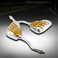 Gold Chrome Skeleton Skull Mirrors For KAWASAKI VULCAN VN 750 800 900 1500 1600