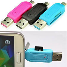 USB 2.0 Micro OTG Adapter SD T-Flash Memory Card Reader Fit For Smart Phone PC