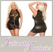 Sexy Black Lace & Wet Look Dress Lingerie Dominatrix Outfit Plus Size 16 18 20
