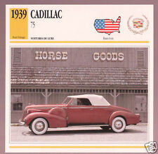 1939 Cadillac Series 75 Convertible Car Photo Spec Sheet Info Stat French Card