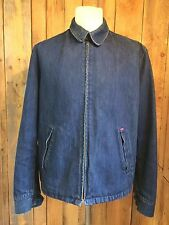 vtg LEVIS denim STA-PREST bomber JACKET xl 48 chest RED TAB indigo HIPSTER vgc
