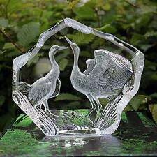 OVP & NEU MALERAS ART GLASS SCULPTURE TWO CRANES - SIGNIERT*DESIGN MATS JONASSON
