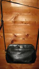 ETIENNE AIGNER BLACK LEATHER LARGE VINTAGE CROSS BODY SHOULDER BAG/MANY POCKETS