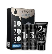 Hyaluronic Face Nose Mask Blackhead Acne Removal Activated Carbon 3 Steps Set