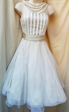 Exquisite TEATRO Cocktail Dress Pale gold & Ivory Full Tulle Skirt Tie sash Sz12
