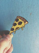 DRIPPING CHEESE AND PEPPERONI PIZZA SLICE ENAMEL PIN BADGE BY TOTALLY TUBULAR