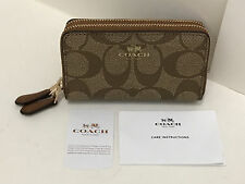 COACH SIGNATURE PVC LEATHER SMALL DOUBLE ZIP COIN CASE WALLET $95 KHAKI / SADDLE