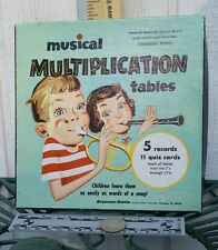 Vintage 1956 Musical Multiplication Tables 5 Records 33 rpm Learning Math!