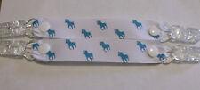 pr mitten glove clips baby girl boy child polo pony white ribbon blue horse xmas