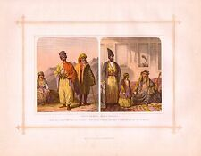 1882 PRINT RACES COSTUMES ~ CAUCASIAN KURDS PERSIANS LADY & GIRL of TEHERAN