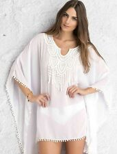 New Ladies White Poncho Style White Lace Cover-up Beach Wear Size One Size  8-12