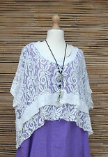 """LAGENLOOK LACE BATWING QUIRKY BOHO OVERTOP*WHITE*SIZE 12-22""""OSFA  ITALY"""