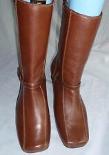 HUSH PUPPIES USED DARK TAN LEATHER ANKLE ZIP BOOT SIZE 9/43 EEE GREAT CONDITION