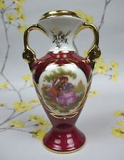 LIMOGES France LA REINE RED / GOLD 2 HANDLED URN / POSY VASE. 14 cm 5.5""