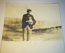 Antique Outdoor American Boy Holding Puppy! Pet Dog Real Photo Postcard Old RPPC