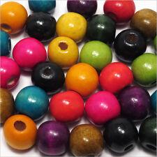 Lot Mix 100 perles Rondes en Bois colorées 14mm