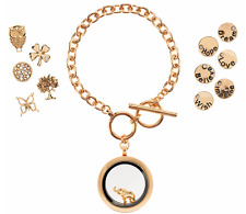 LOCKET BRACELET GOLDTONE WITH SET OF 12 NATURE INSPIRED CHARMS QVC