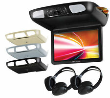 "PLANET AUDIO 11.2"" TFT CAR MONITOR OVERHEAD CEILING DVD USB PLAYER 2 HEADPHONES"
