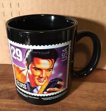 Elvis 29 Cent Stamp Mug Cup Presley Enterprises Black
