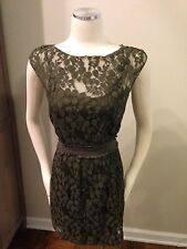 Max Studio Specialty Product MSSP Olive Green Lace Overlay Dress XS Excellent