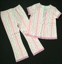 NWOT Baby Lulu Boutique Girl Pink Lace Shirt Top Floral Pant Set Sz 4 4T