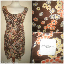 ~ PRETTY COTTON 1970S STYLE ZIP BACK POCKETS FLORAL NEW LOOK DRESS UK 16 ~