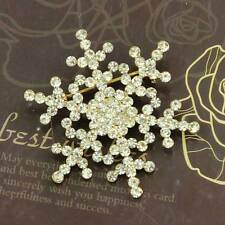 "Brooch Broach Pin Crystal Rhinestone Snowflake 1.57"" Golden Tone Christmas Gift"