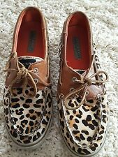 WOMENS SPERRY TOP SIDER ANIMAL PRINT DECK SHOE FUR MATERIAL SIZE 7.5 M