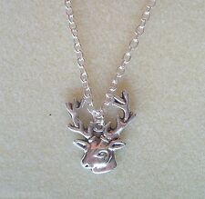 "Stag Deer Hart Herne Animal Totem Amulet Pendant 20"" Chain Necklace"