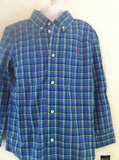 Ralph Lauren Shirt Plaid Blue Green Long Sleeved Button Down Size 2T  NWT