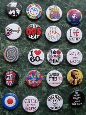 "THE 60s  20 X 1"" BUTTON BADGES FANCY DRESS RETRO VINTAGE 1960 STONES EIGHTIES"