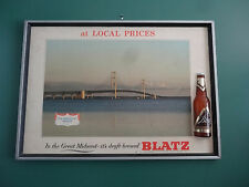VTG RARE BLATZ BEER THE MACKINAC BRIDGE SCENERY IN THE GREAT MIDWEST BAR SIGN
