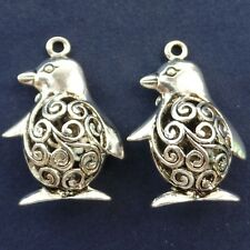 6Pcs Beautiful Carved Tibetan silver Penguin Pendant Bead ACQ00005