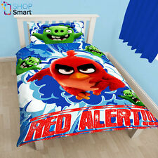 ANGRY BIRDS MOVIE SINGLE DUVET SET COVER QUILT BEDDING RED ALERT REVERSIBLE NEW
