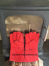 HEAT RESISTANT LEATHER GLOVES - WOODBURNER / FIRE / STOVE / CHIMINEA / BBQ