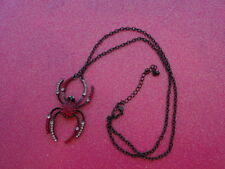 Hot Pink Crystal Spider With Black Necklace 24-26 Inch Chain
