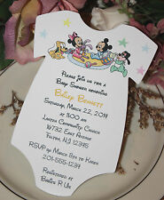 Baby Mickey Mouse & Baby Minnie Mouse & Friends Baby Shower Onesie Invitation