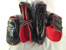 Black patent With Red Cow Softy Leather Lining Tendon & Fetlock boots (Full)