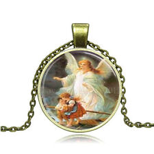 Vintage Blessed Virgin Mary Cabochon Bronze Glass Chain Pendant Necklace CY160