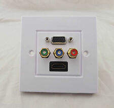 HDMI VGA 3RCA Wall Plate Panel AV Composite Audio Video Outlet Socket HDTV 1080p