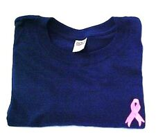 Breast Cancer Sweatshirt 3XL Pink Ribbon Embroidery Navy Blue Crew Neck New