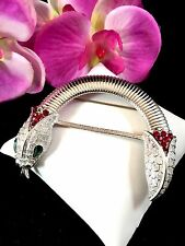 CROWN TRIFARI SILVER-TONE EMERALD GREEN RUBY RED RHINESTONE SNAKE SERPENT BROOCH