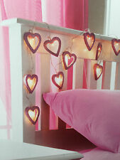 NEW Light Styles 10 Pink Glitter Heart LED String Lights Battery Operated