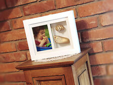 Wooden Frame With 3D Gold Color Memory Prints- Baby Kids Feet & Hand 3D Cast Kit